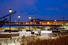 New Year's Night St. Petersburg. The Arrow Of Vasilyevska Island