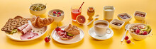 Delicious Wholesome Breakfast Panorama Banner On Yellow