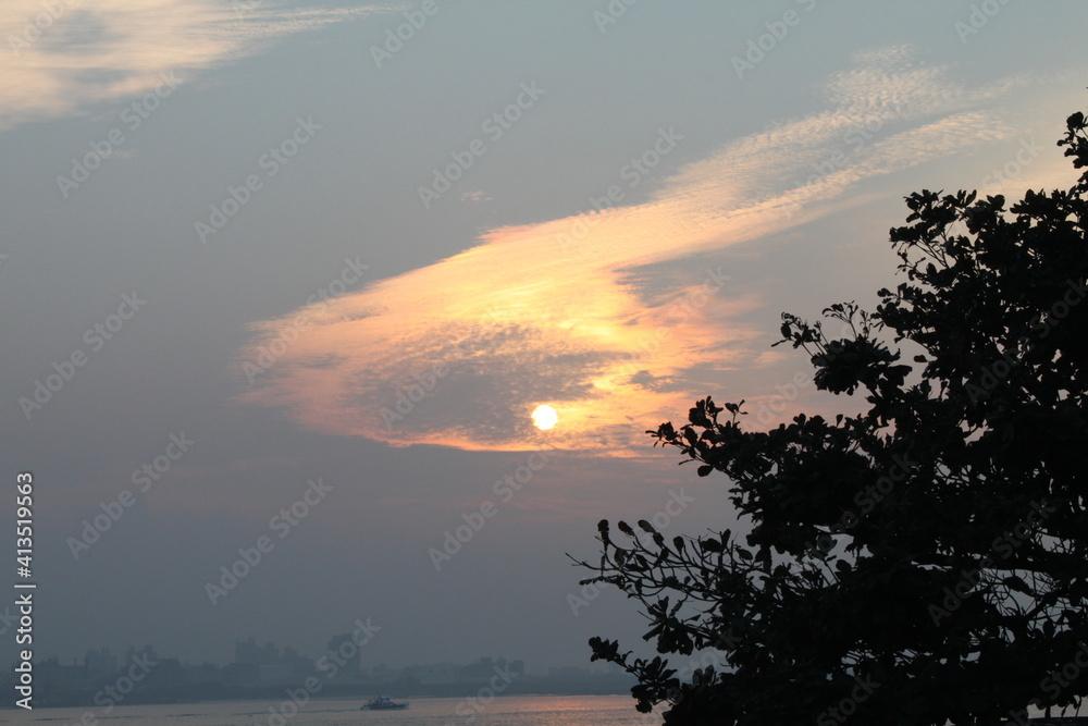 Fototapeta Silhouette Tree By Sea Against Sky During Sunset