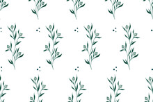 Seamless Pattern With Floral, Botanical Elements, Branches With Leaves, Flower Buds And Berries, Ornamental Plants, Stylized Vector Graphics
