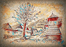 Vintage Mountain Oldtime Willage With Wooden Houses And Belfry, Pencil Drawing On Papier.