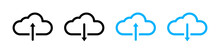 Set Of Download And Upload Icons. Cloud And Arrow. Vector Illustration.