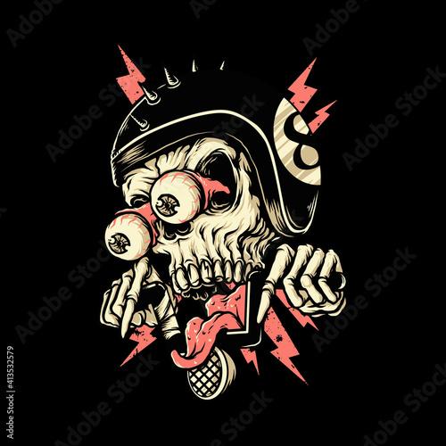 Skull biker rider horror graphic illustration vector art t-shirt design Poster Mural XXL