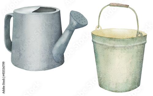 Obraz na plátně garden tools, watering can and bucket, watercolor
