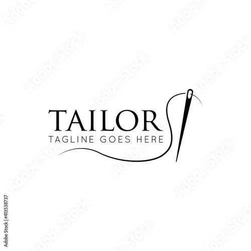 Obraz Tailor logo luxury needle and thread icon, sewing silhouette, vector illustration best logo design - fototapety do salonu
