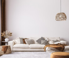 Wall Mockup In Bright Living Room Design, White Sofa In Farmhouse Boho Interior Style, 3d Render