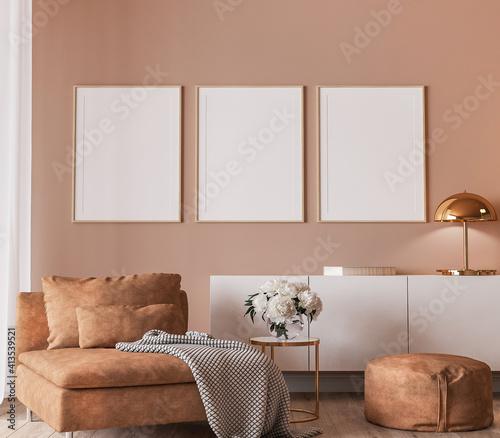 Fototapeta Elegant interior design, modern living room with frame mockup on orange color background, 3d render obraz