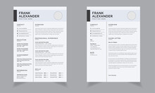 Minimalist CV Or Resume Template Vector One Page ResumeCV Template