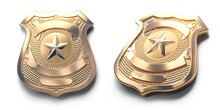 Police Golden Metal Badge Isolated On White Sign And Symbol Of Police.
