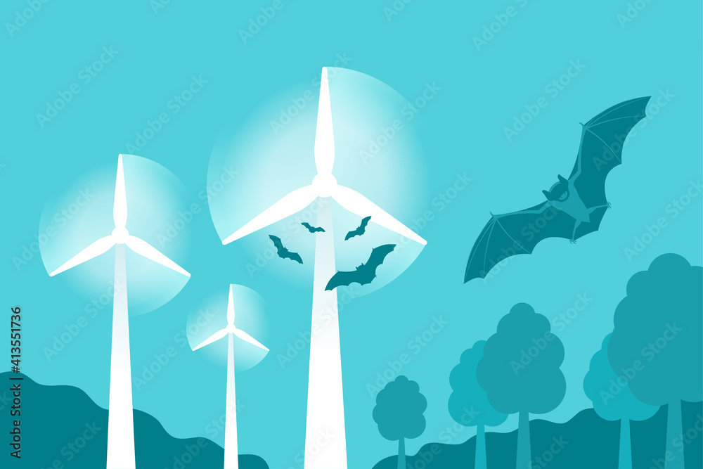 Fototapeta Bats attracted to wind turbines