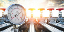 Gas Pression Gauge Meters On Gas Pipeline. Gas Extraction, Production, Delivery And Supply Concept.