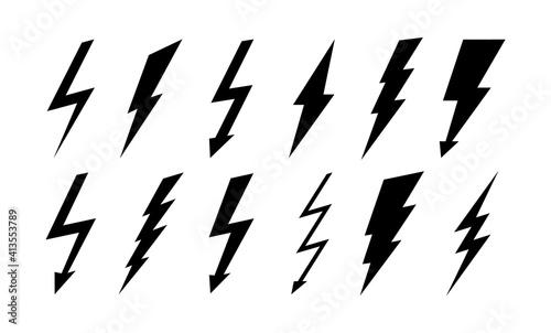 Fotografía Set of thunderbolt and lightning icons