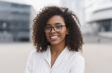 Young Beautiful Woman Portrait, African Student Girl In A City, Young Businesswoman Smiling Outdoor, People, Enjoy Life, Student Lifestyle, City Life, Business Concept