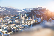 Panorama Of Salzburg In Winter: Snowy Historical Center And Old City