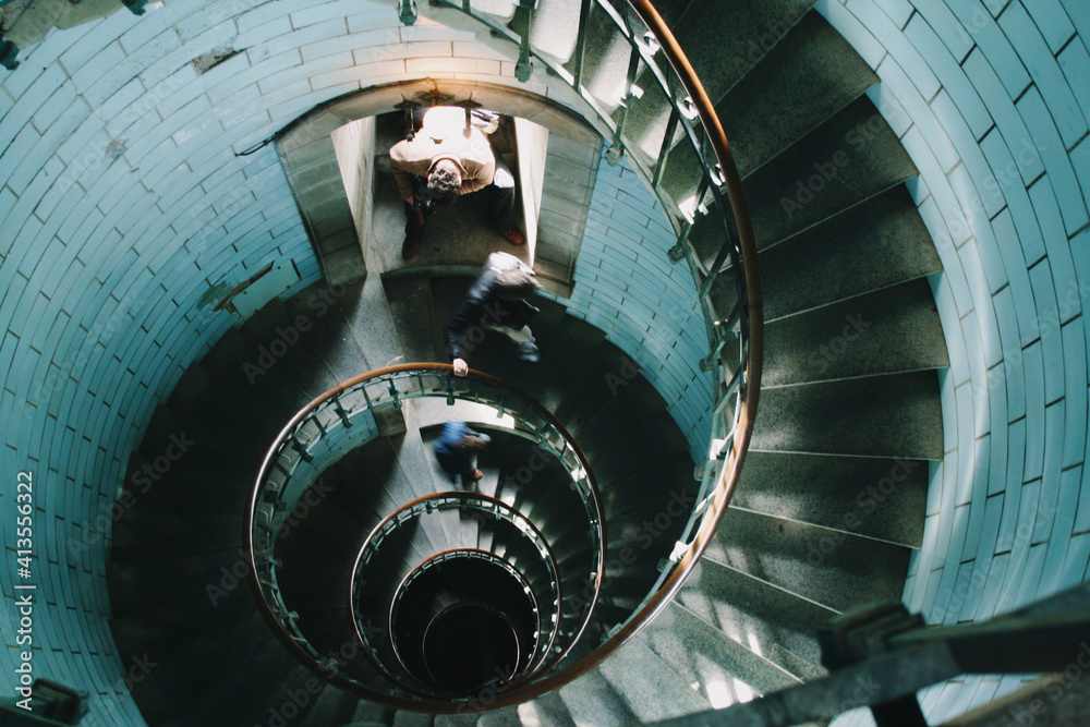 Fotografia circular staircase in the interior lighthouse of Brittany