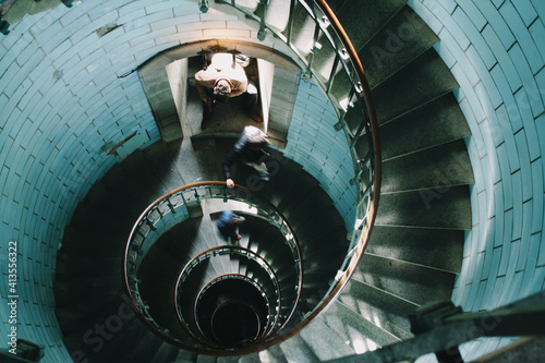 Canvas Print circular staircase in the interior lighthouse of Brittany