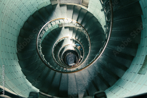 Photo circular staircase in the interior lighthouse of Brittany