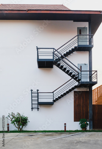 Tablou Canvas Modren fire escape on building ,safety stair.