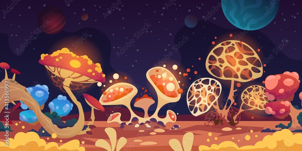 Fototapeta Alien landscape. Fantasy space background with colorful monster mushrooms, magic game flora. Fantastic glowing grebes and dark night sky with planets or stars. Vector scary extraterrestrial scenery
