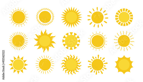 Obraz Doodle Sun. Hand drawn simple graphic circle solar elements collection, sunshine round symbols. Yellow silhouette for design and logo, vector sunny weather symbol isolated on white background set - fototapety do salonu