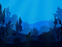 Underwater Seabed. Deep Ocean Seascape. Hilly Undersea Bottom With Growing Seaweed And Swimming Fish. Blue Marine Scenery. Aquatic Ecosystem With Water Animals And Plants. Vector Seascape Illustration