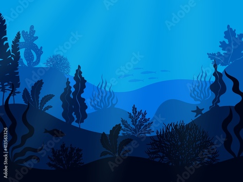Fototapeta Underwater seabed. Deep ocean seascape. Hilly undersea bottom with growing seaweed and swimming fish. Blue marine scenery. Aquatic ecosystem with water animals and plants. Vector seascape illustration obraz