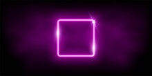 Glowing Neon Pink Square With Sparkles In Fog Abstract Background. Electric Light Frame. Geometric Fashion Design Vector Illustration. Empty Minimal Art Decoration.