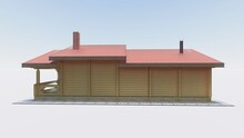 3d Sketch Of A Wooden Project Of A Log Bath House With A Terrace, A Recreation Room, Chimneys, Wide Windows From The Floor, A Two-level Roof.