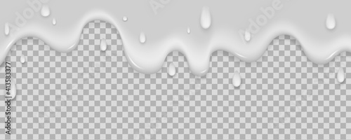 Obraz Realistic milk yogurt flows down on light background. White liquid with dribble. Soft texture of a dairy product for your graphic design. Ice cream melts. Vector illustration. - fototapety do salonu