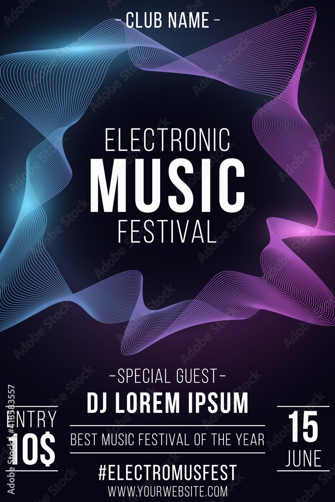 Fototapeta Electronic music festival poster. Stylish party flyer with wavy frame for graphic design. Glowing vibrant waves. Club and DJ name. Vector illustration.