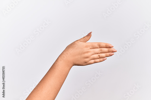Fotografija Hand of caucasian young woman stretching and reaching with open hand for handsha