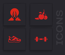 Set Dumbbell, Meditation, Fruit And Sport Sneakers Icon. Vector.
