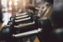 Exercise Equipment Dumbbell In The Gym.