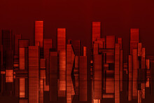 Big City Sky Scrapers Reflecting In The Water, Imitation Made Of Batch Staples Composition In Red Light On Reflecting Surface And Blue Background, The Night City From Metal Paper Clips