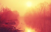 Abstract Foggy Spring Landscape With Calm River And Bare Trees During Serene April Morning.
