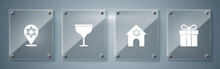 Set Gift Box, Jewish Synagogue, Goblet And Star Of David. Square Glass Panels. Vector.