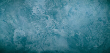 Beautiful Decorative Venetian Plaster In Blue. Plastered Wall Texture For Backgrounds.