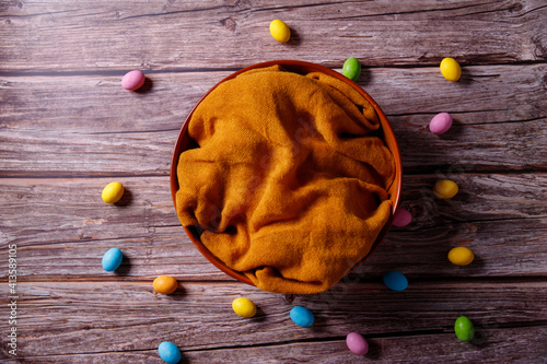 Leinwand Poster Newborn Digital Photography Background Spring Egg