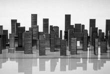 Big City Sky Scrapers Reflecting In The Water, Imitation Made Of Batch Staples Composition On Reflecting Surface And Whitee Background, The Night City From Metal Paper Clips