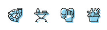 Set Line Cleaning Service, Socks, Iron And Ironing Board And Basin With Soap Suds Icon. Vector.