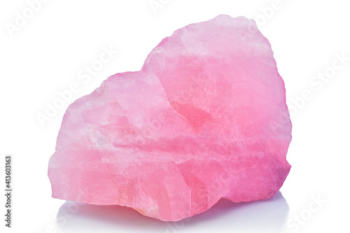 Raw uncut Rose quartz mineral isolated on white background Fotobehang