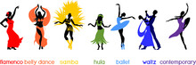 Various Style Dancing. Set With Silhouettes Of Dancers Of Ballet, Flamenco, Oriental Dance, Hula, Samba, Waltz And Contemporary Isolated On White Background