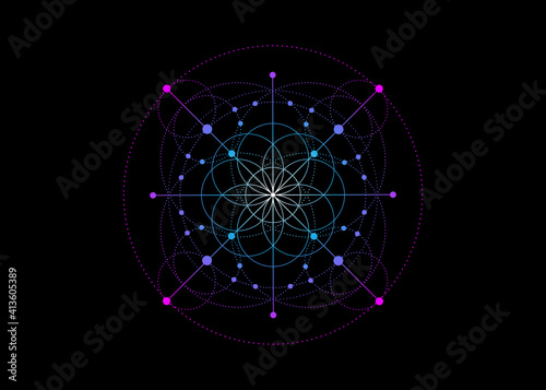 Photo Sacred Geometry, colorful Seed of life symbol
