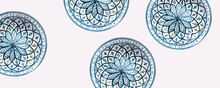 Seamless Colorful Pattern On Plate. Vintage Decorative Element. Hand Drawn Pattern In Turkish Style. Islam, Arabic, Indian, Ottoman Motif