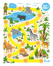 Labyrinth For Children. Help The Tourist Find The Way To The Camp. Educational Game. Wild Animals