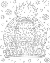 Hand Drawn Coloring Page For Kids And Adults. Winter Hat And Snowflakes, Holidays. Beautiful Drawing With Patterns And Small Details. Coloring Pictures. Vector