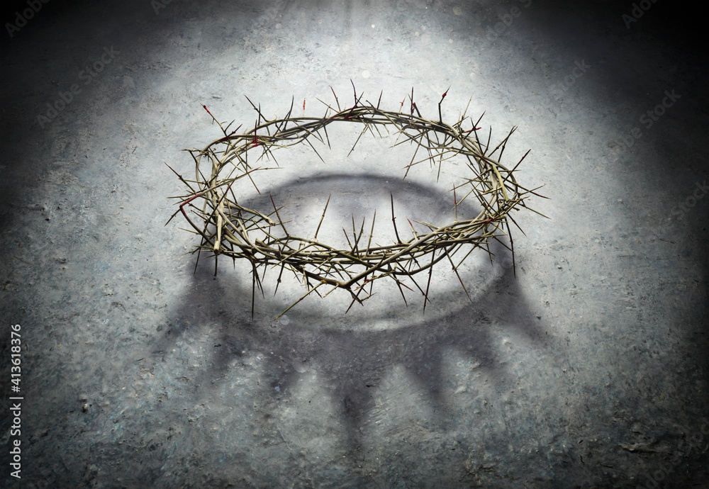 Fototapeta Wreath Of Thorns With King Crown Shadow - Passion And Triumph Of Jesus