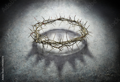 Fototapeta Wreath Of Thorns With King Crown Shadow - Passion And Triumph Of Jesus obraz