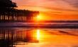 Leinwandbild Motiv Scenic View Of Sea Against Orange Sky