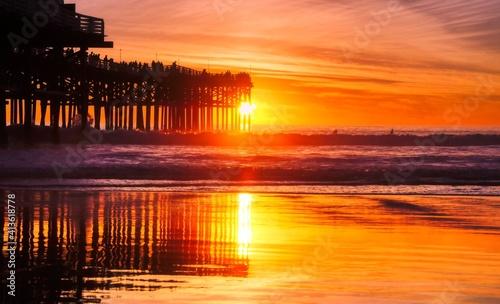 Obraz na plátně Scenic View Of Sea Against Orange Sky